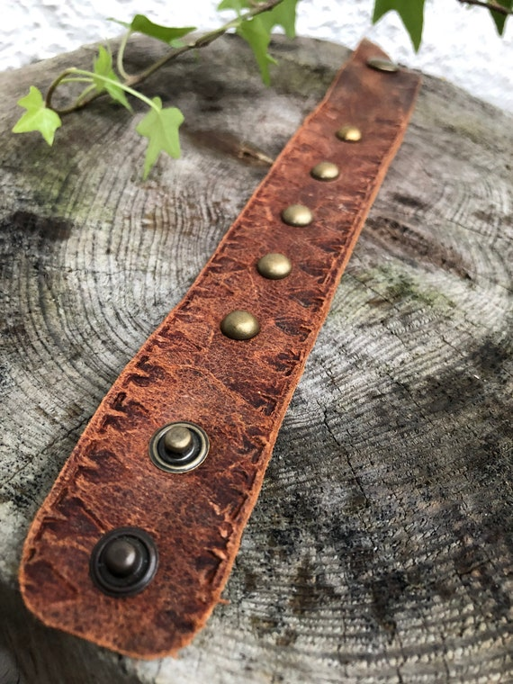 7.2 Genuine Brown Leather Engraved Tribal Design Cuff Bangle Length