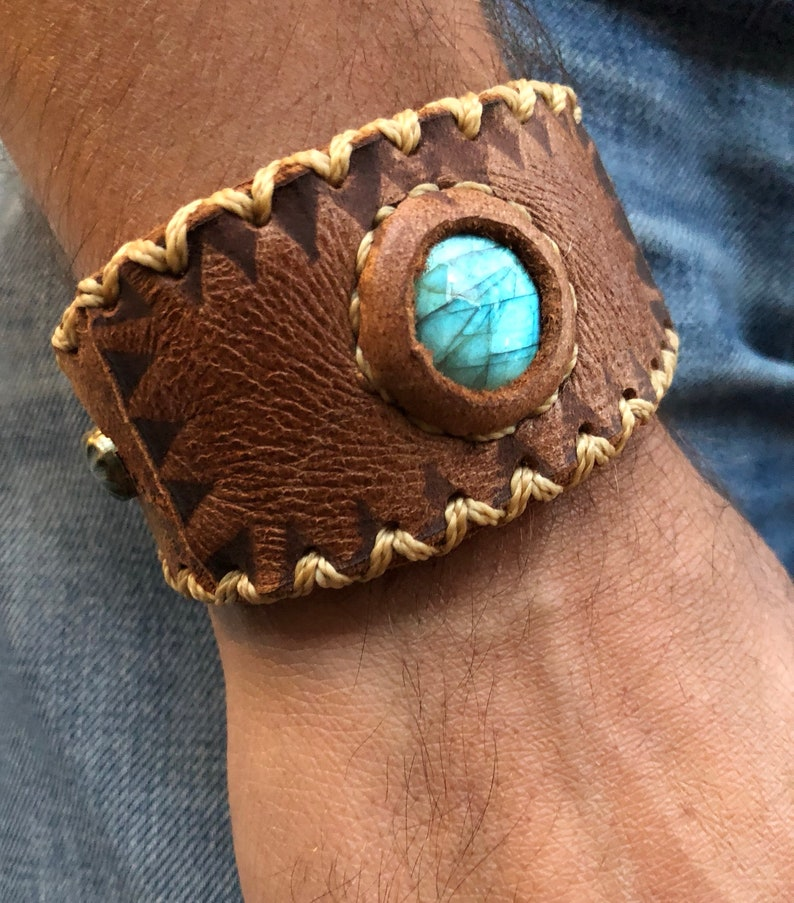 d76c91103a5ab Handmade leather cuff bracelet with labradorite - unisex leather bracelet -  crystal leather bracelet- boho jewelry