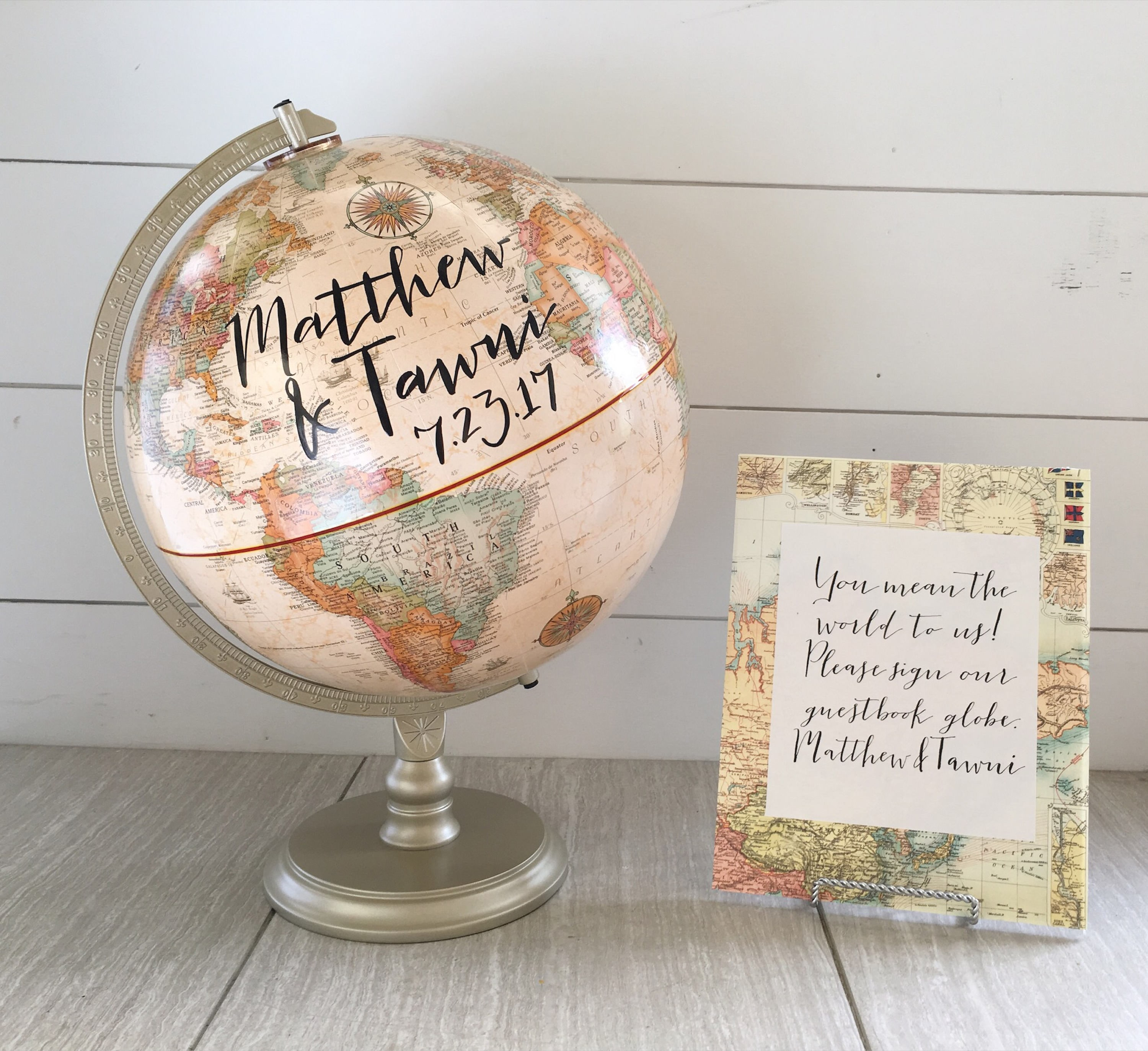 Wedding Guestbook Globe Well Wishes Travel Quotes Custom Etsy