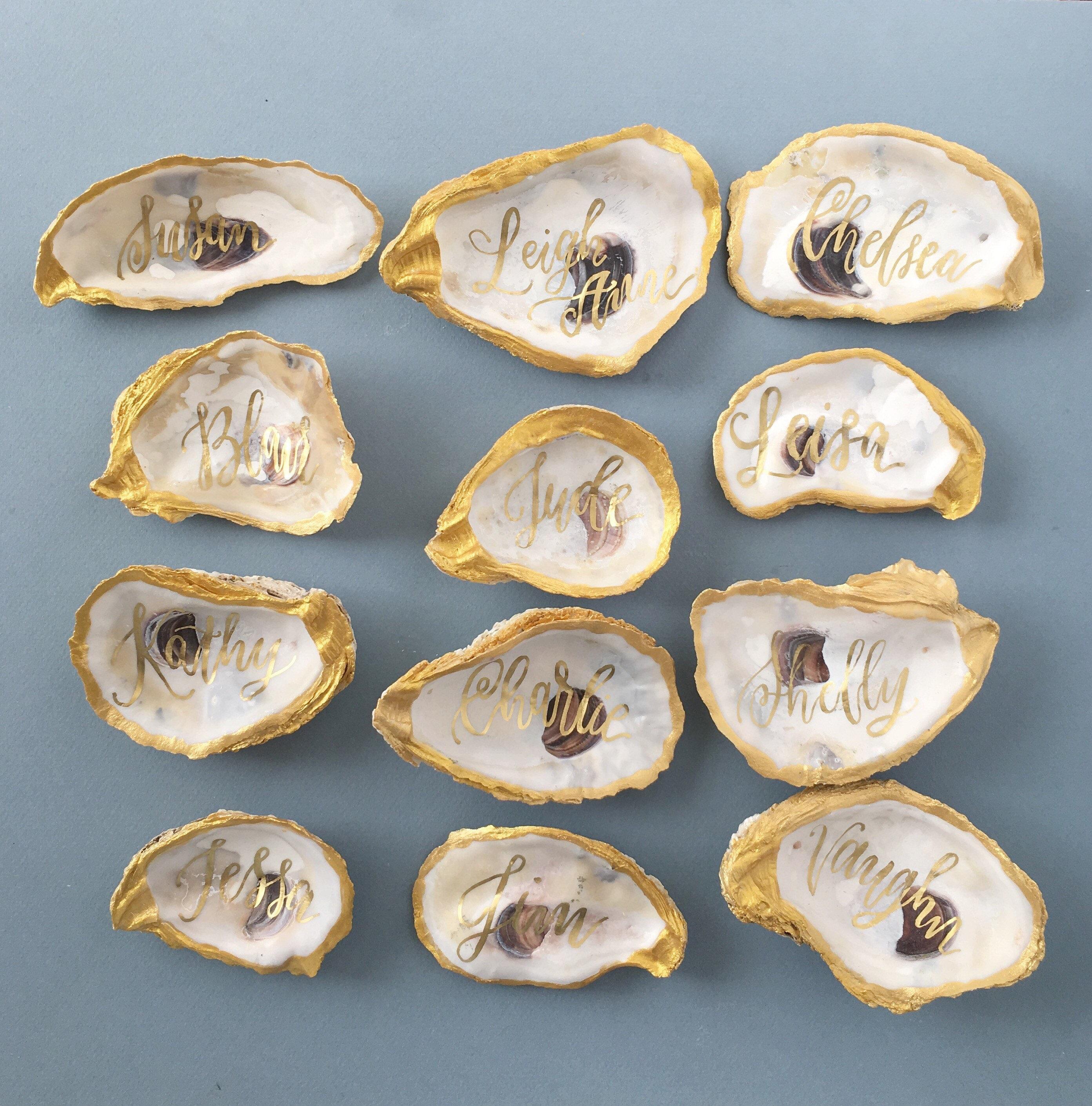 Goldfolie Austern Muscheln Tischkarten Karten Tischkarten   Etsy