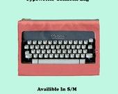 Typewriter Cosmetic Bag, Cosmetic Bag, Make Up Bag, typewriter, 50s , pink, 50s fashion, bags