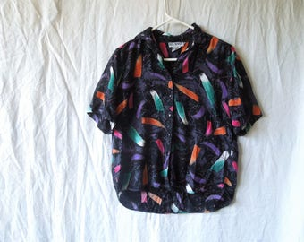 90s Paint Stroke Print Button Down Collared T-Shirt