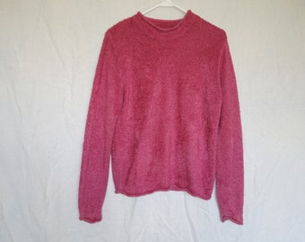 90s Pink Fuzzy Pullover Sweater