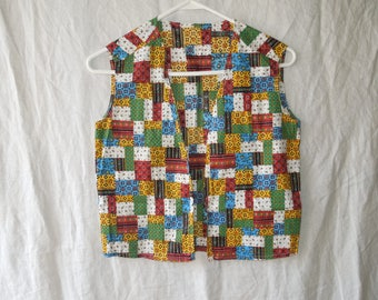 70s Handmade Colorful Patchwork Floral Hippie Vest