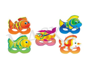 6 FISHES Masks JPEG files downloadable