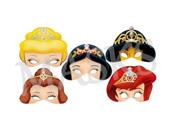 5 DISNEY PRINCESS Masks (whitesnow, jasmine, aurora, cinderella, beautiful) JPEG files downloadable