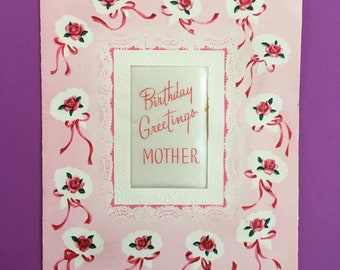 1950s Happy Birthday Mother Greeting Card Retro Mid Century Mom Signed