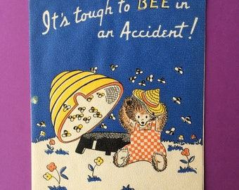 1940's Get Well Soon Greeting Card // Retro Mid-Century Bears Bees Honey // Signed No Envelope