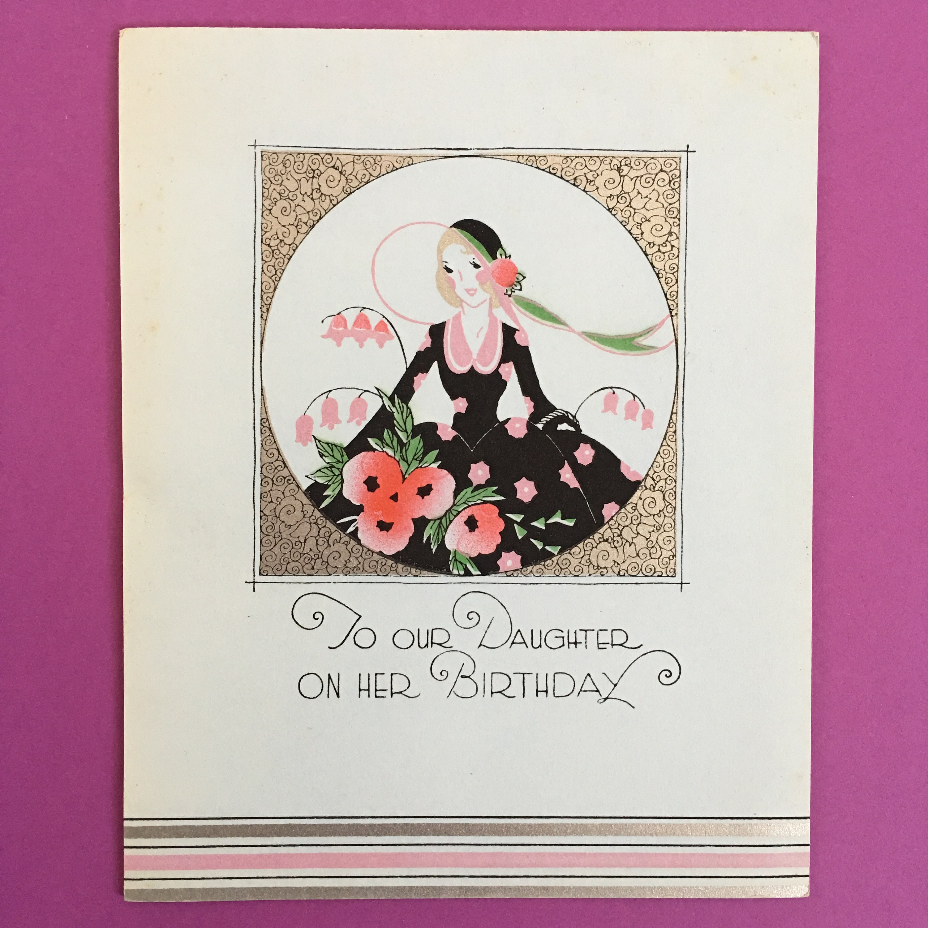 Antique Daughter Birthday Greeting Card 1920s Etsy