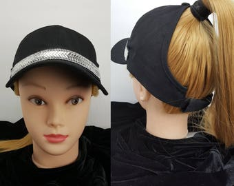 ce470423fdf Women s 4 Panel Black Trucker Hat High Ponytail Hole
