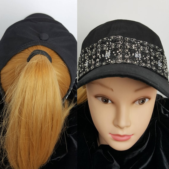 Women s 4 Panel Black Trucker Hat High Ponytail Hole  a7c8556cab1