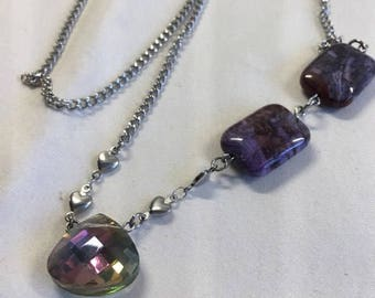 Necklace with crystal and Amethyst pendant 18 inch stainless steel chain