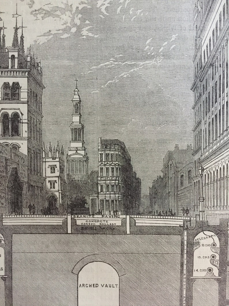 Antique Print Dated 1876 Section  Of The Holborn Viaduct Showing The Subways London Engraving London Underground History Picture Art