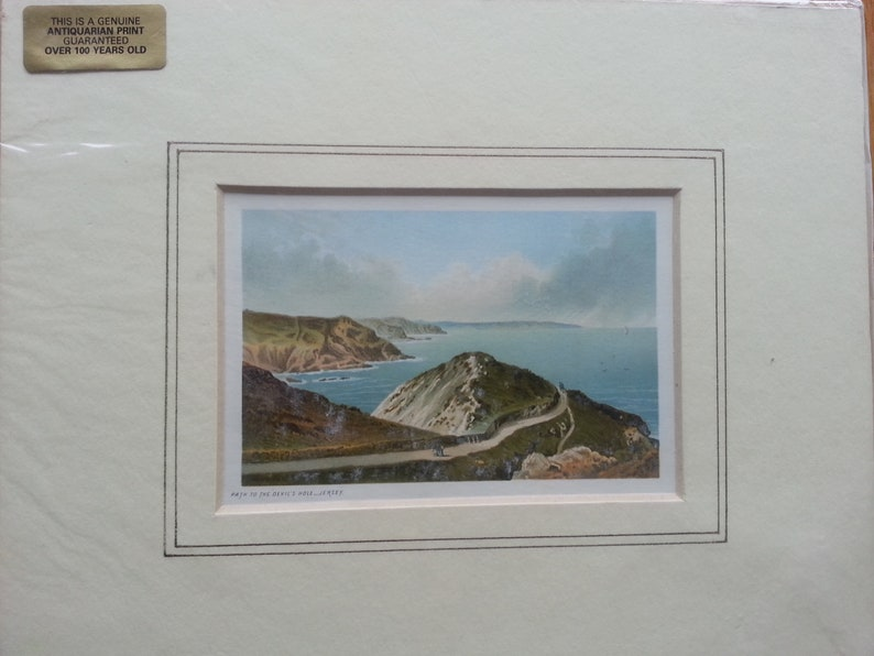 Antique Print Dated C1800/'s Path To The Devil/'s Hole Jersey Chromolithograph Mounted Victorian Picture Topographical