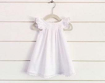 d49df571c4d7 White Toddler Dress, Flutter Sleeve Dress, White Baby Dress, Christening  Dress, Baptism Dress, Blessing Girls Dress, white dress,ivory dress