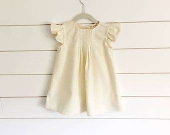 bfd462c94cec7 Ivory linen Toddler Dress white linen dress Flutter Sleeve Dress Ivory Baby  Dress white baby dress Christening Dress Baptism Dress blessing