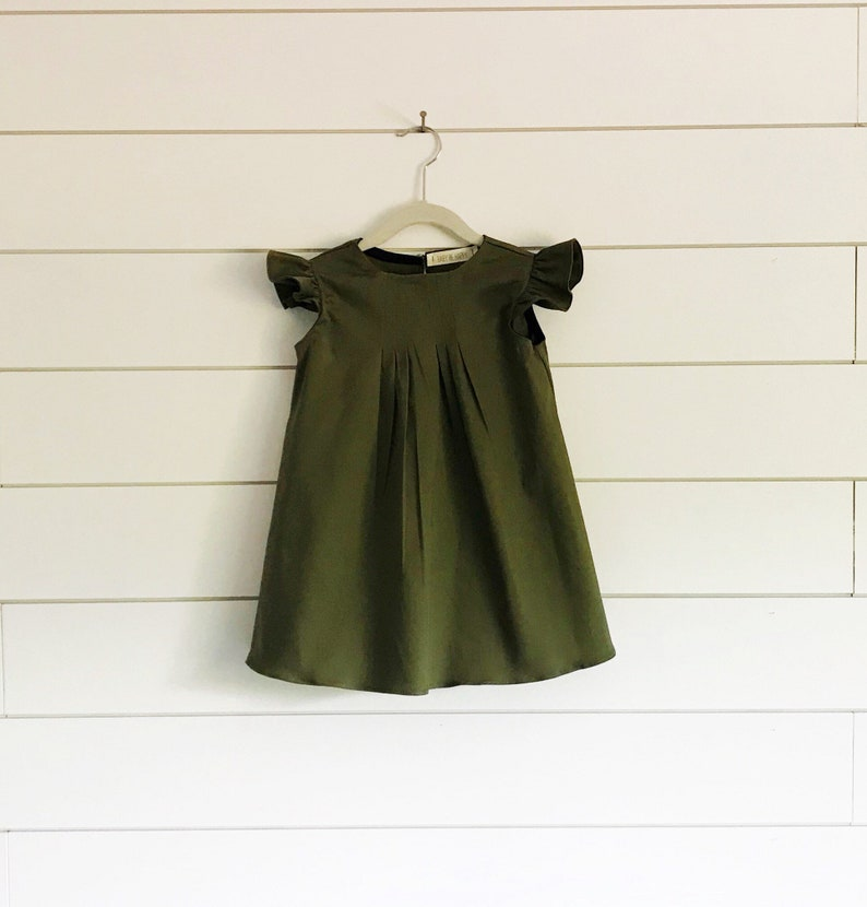 Olive Green Dress Green Baby Dress Green Girls Dress Green Etsy