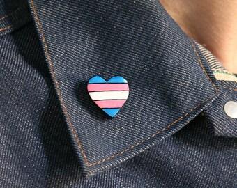 Enamel Pin Gay Pride lgbt pins pride month, Trans Heart