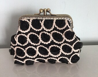 c3e70c2ef9d Black 3D Rosette Lace Clutch with Double Frame Free Shipping
