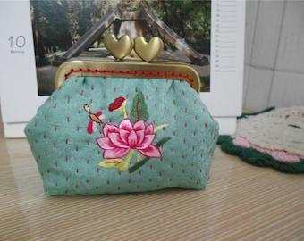 Embroidery Coin Purse/ Metal Frame Purse / Change Purse / Kisslock Purse Free Shipping