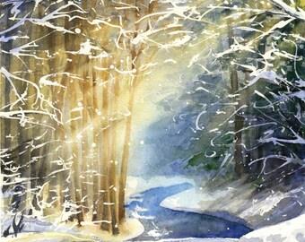 Winter lights - ORIGINAL WATERCOLOR PAINTING landscape
