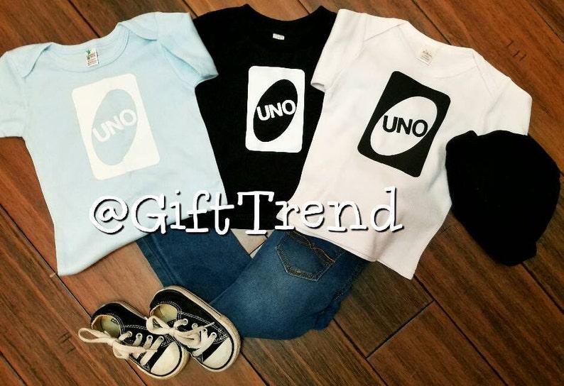 Uno T Shirt Onesie 1 Year Old First Birthday Fun Cute 0 3 6 9