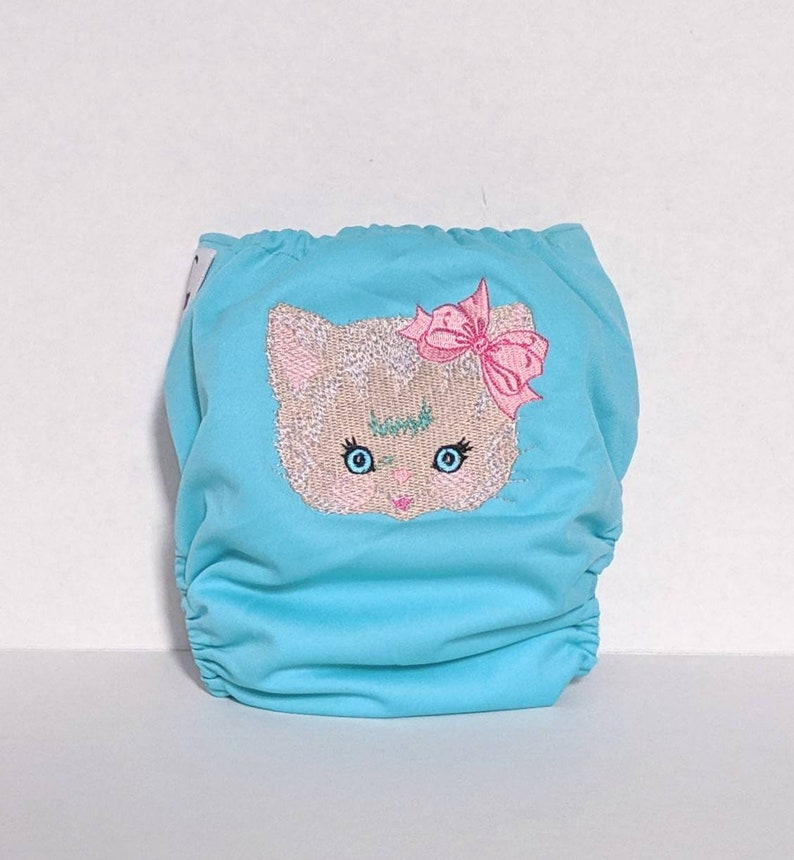 Cat Kitten Cloth Diaper Custom Pocket Diaper Bloomers Embroidered Diaper Cover All In One AIO Diaper Embroidered WAHM Cloth Diaper