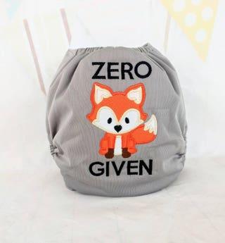 Zero Fox Given Cloth Diaper - Embroidered Cloth Diaper - Funny Baby Cloth Diaper - Fox Diaper - Woodland Cloth Diaper - Pocket Nappy