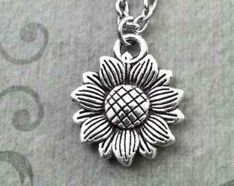 Sunflower Necklace SMALL Sunflower Jewelry Sunflower Pendant Silver Sunflower Charm Flower Necklace Bridesmaid Necklace Flower Girl Gift