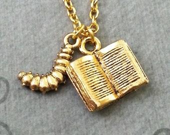 Book Necklace SMALL Book Jewelry Bookworm Necklace Book Worm Necklace Reading Necklace English Literature Teacher Necklace Book Club Jewelry