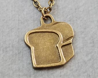 Bread Necklace SMALL Bread Charm Necklace Sliced Bread Pendant Necklace Loaf of Bread Jewelry Food Jewelry Baker Gift Baking Jewelry Chef
