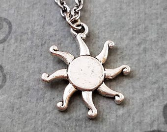 Sun Necklace Sun Charm Necklace Sun Jewelry Summer Necklace Summer Jewelry Bridesmaid Jewelry Celestial Necklace Sun Pendant Necklace Gift