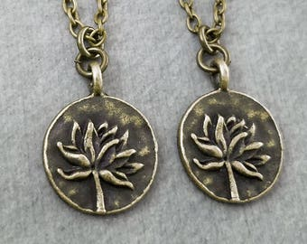 Lotus Necklace SET of 2 SMALL Bronze Lotus Charm Necklaces Yoga Jewelry Yoga Instructor Friendship Gift Yoga Class Gift Best Friend Necklace