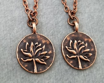 Lotus Necklace SET of 2 SMALL Copper Lotus Charm Necklaces Yoga Jewelry Yoga Instructor Friendship Gift Yoga Class Gift Best Friend Necklace