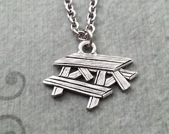 Picnic Table Necklace Picnic Table Jewelry Picnic Necklace Picnic Gift Picnic Table Charm Necklace Pendant Necklace Bench Necklace Summer