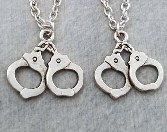 Handcuffs Necklace SET of 2 SMALL Handcuffs Charm Necklaces Handcuffs Pendant Necklace Police Officer Best Friends Gift Friendship Necklace