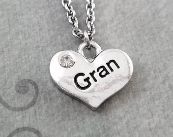 Gran Necklace SMALL Heart Necklace Mom Necklace Mother's Day Jewelry Mom Jewelry Grandma Necklace Grandmother Gift Charm Necklace Pendant