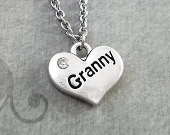 Granny Necklace SMALL Heart Necklace Mom Necklace Mother's Day Jewelry Mom Jewelry Grandma Necklace Grandmother Gift Charm Necklace Pendant