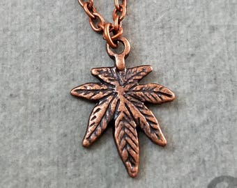 Pot Leaf Necklace VERY SMALL Marijuana Necklace Weed Necklace Stoner Gift Pothead Gift Copper Pot Jewelry Weed Jewelry Marijuana Jewelry