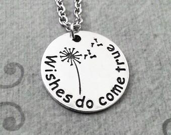 Wishes Do Come True Necklace Dandelion Necklace Silver Engraved Necklace Dandelion Jewelry Wish Necklace Wish Jewelry Dandelion Pendant