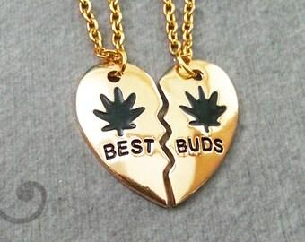 Best Buds Necklace Set Buds Necklaces Pot Leaf Necklace Marijuana Necklace 420 Stoner Gift Best Friend Necklace Friendship Jewelry Friends