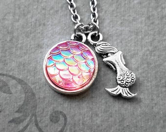 Mermaid Necklace SMALL Mermaid Jewelry Pink Mermaid Scales Necklace Fantasy Jewelry Charm Necklace Pendant Necklace Iridescent Scales Beach