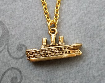 Ship Necklace VERY SMALL Cruise Ship Charm Necklace Boat Necklace Ship Jewelry Boat Jewelry Pendant Necklace Cruise Gift Vacation Travel