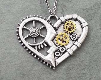 Heart Necklace LARGE Mechanical Heart Jewelry Gears and Cogs Steampunk Heart Charm Necklace Pendant Necklace Steampunk Jewelry Teenage Girl