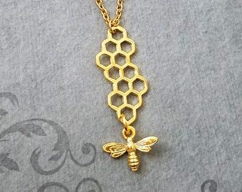 Honeycomb Necklace Honeycomb Jewelry Honey Bee Necklace Queen Bee Jewelry Honeybee Necklace Charm Necklace Pendant Necklace Beehive Necklace
