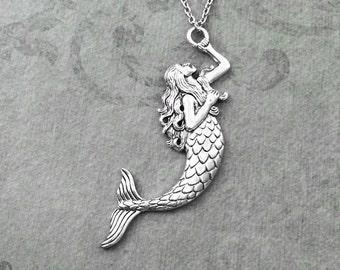 Mermaid Necklace LARGE Mermaid Jewelry Mermaid Pendant Necklace Fantasy Necklace Siren Necklace Fantasy Jewelry Mermaid Gift Charm Necklace