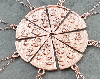 Pizza Necklace SET of 8 Slice of Pepperoni Pizza Necklaces Rose Gold Jewelry Friendship Jewelry Bridesmaid Jewelry Best Friend Necklace Gift