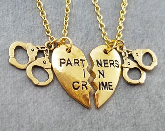 Partners in Crime Necklace SET of 2 Split Heart Necklaces Handcuffs Necklace Sisters Jewelry Best Friend Necklace Friendship Jewelry Gift
