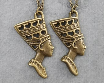 Nefertiti Necklace SET of 2 Queen Nefertiti Charm Necklaces Bronze Pendant Necklace Egyptian Jewelry Best Friend Necklace Friendship Gift