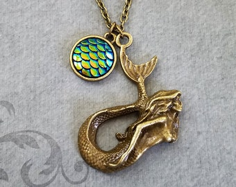 Mermaid Necklace Scales Necklace Scales Charm Necklace Mermaid Scales Pendant Necklace Scale Necklace Fantasy Jewelry Mermaid Jewelry Siren